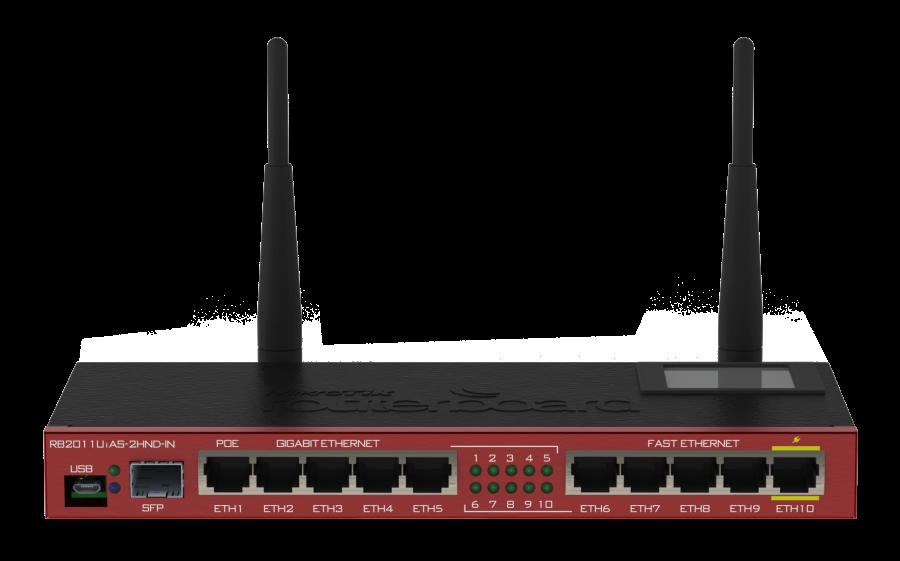 Pobočkový router RB2011UiAS-2HnD-IN s integrovanou WiFi.