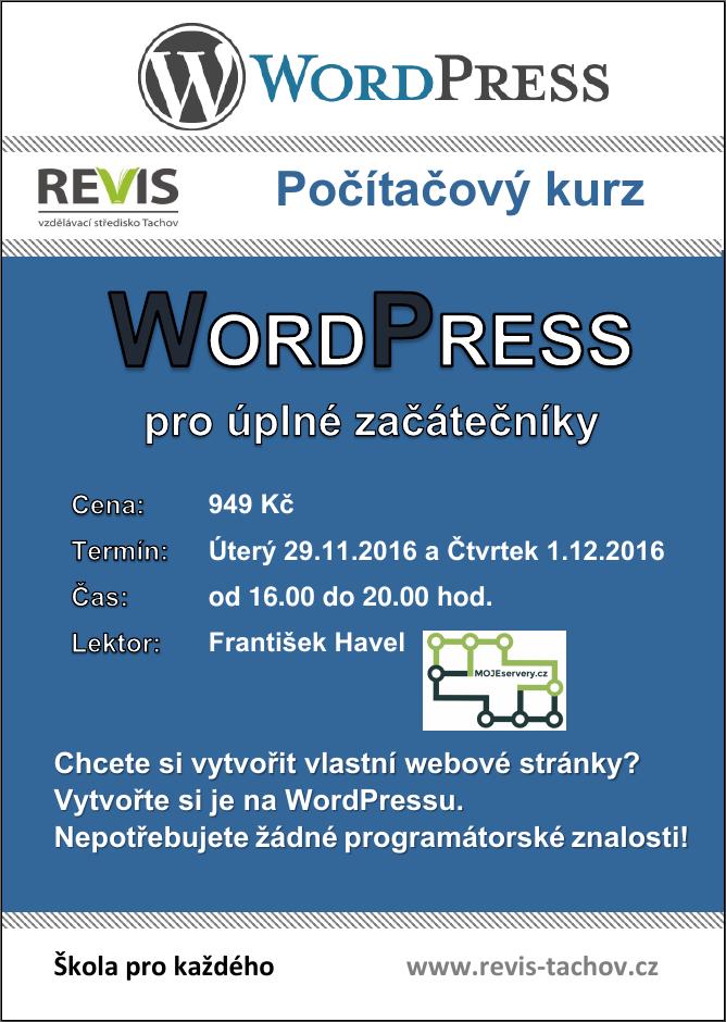 Leták školení Revis Tachov: WordPress pro úplné začátečníky listopad 2016